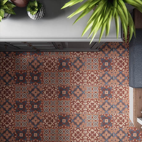 BCT Tiles St Pancras Terracotta Feature Floor Tiles - 331 x 331mm - BCT57598