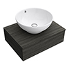 Brooklyn Floating Basin Shelf with Drawer - Black - 600mm inc. Round Basin profile small image view 1
