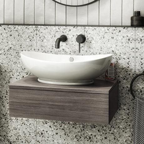 Brooklyn Floating Basin Shelf with Drawer - Grey Avola - 600mm inc. Oval Basin