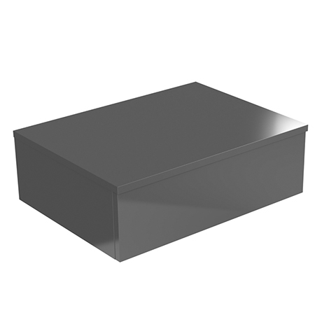 Brooklyn Wall Hung Countertop Basin Shelf with Drawer - Gloss Grey - 600 x 450mm