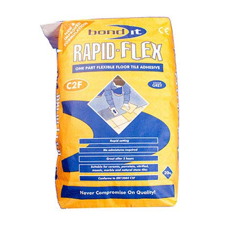 BOND IT Rapid-Flex Flexible Rapid Setting Wall & Floor Tile Adhesive 20kg - Grey - BDTRFB