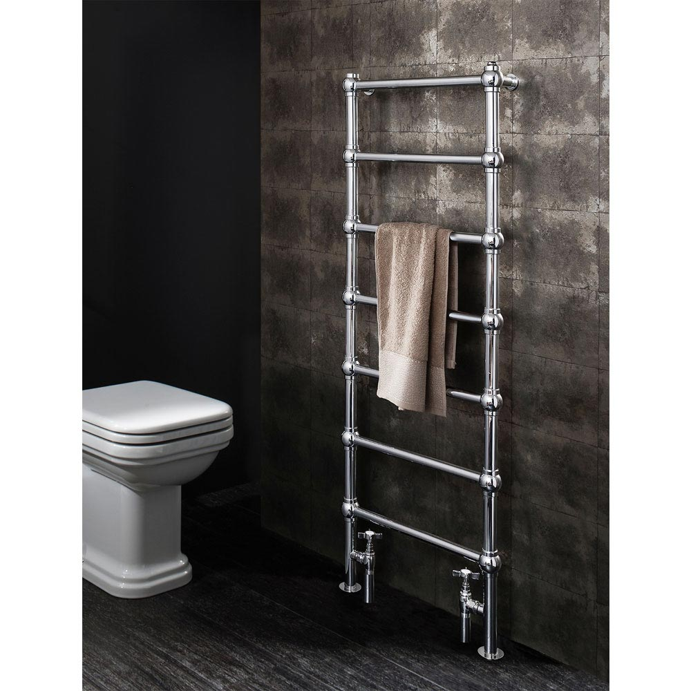 Bauhaus Belle 500 x 1340mm Traditional Chrome Towel Rail - BE50X134C - Positioned against dark grey bathroom wall tiles