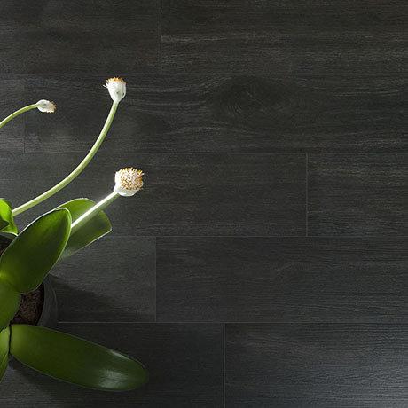 Beacon Black Wood Effect Floor Tiles - 200 x 1200mm