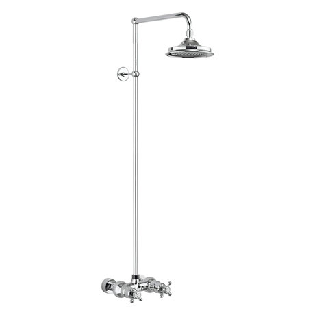 Burlington Eden Thermostatic Single Outlet Exposed Shower Bar Valve & Rigid Riser with Fixed Head