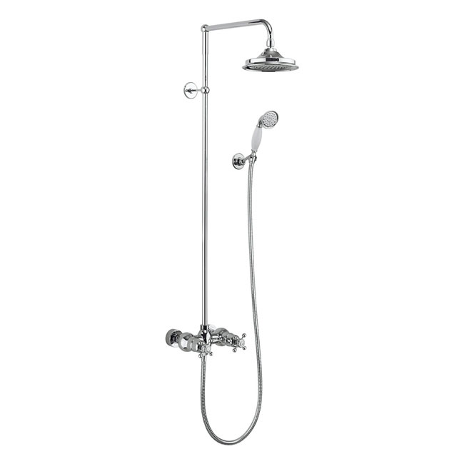 Burlington Eden Thermostatic Two Outlet Exposed Shower Bar Valve, Rigid Riser & Kit with Fixed Head profile large image view 1