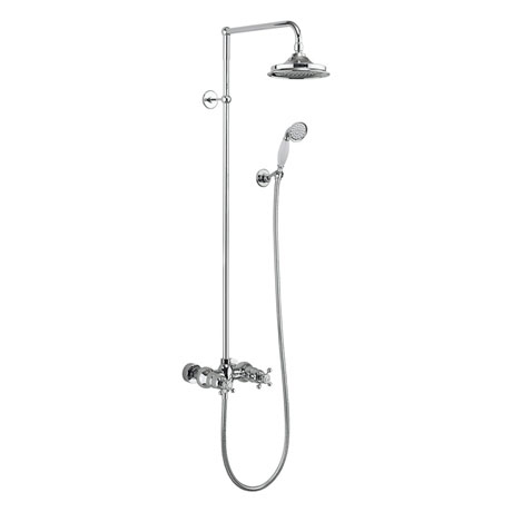Burlington Eden Thermostatic Two Outlet Exposed Shower Bar Valve, Rigid Riser & Kit with Fixed Head