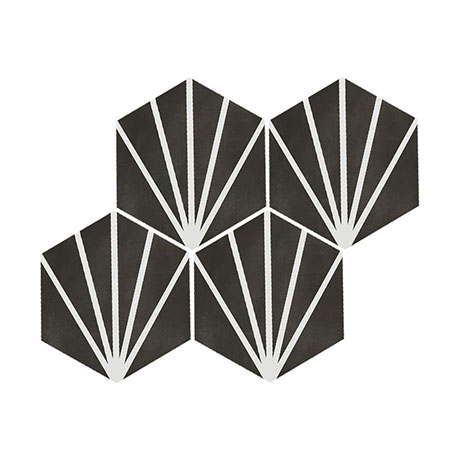 Belmont Hexagon Black with White Lines Wall and Floor Tiles
