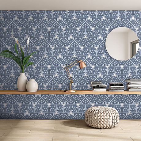 Belmont Hexagon Blue with White Lines Wall and Floor Tiles