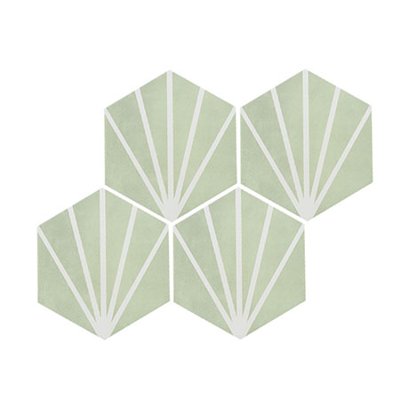 Belmont Hexagon Green with White Lines Wall and Floor Tiles