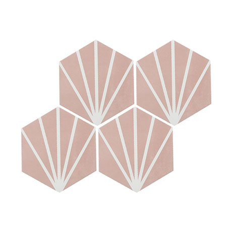Belmont Hexagon Pink with White Lines Wall and Floor Tiles