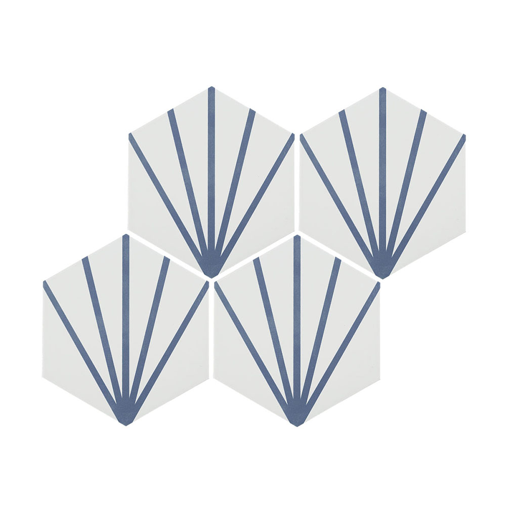 Belmont Hexagon White with Blue Lines Wall and Floor Tiles