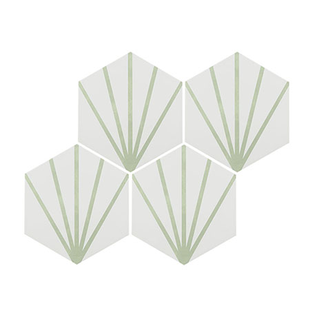 Belmont Hexagon White with Green Lines Wall and Floor Tiles