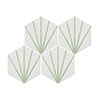 Belmont Hexagon White with Green Lines Wall and Floor Tiles Small Image