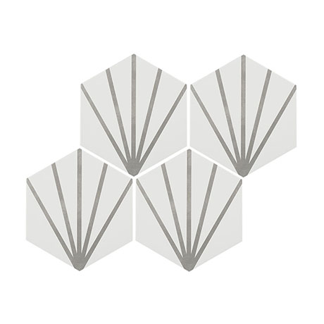 Belmont Hexagon White with Grey Lines Wall and Floor Tiles