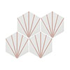 Belmont Hexagon White with Pink Lines Wall and Floor Tiles Small Image