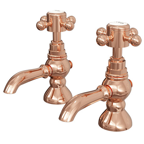 Belmont Rose Gold Traditional Basin Taps + Waste