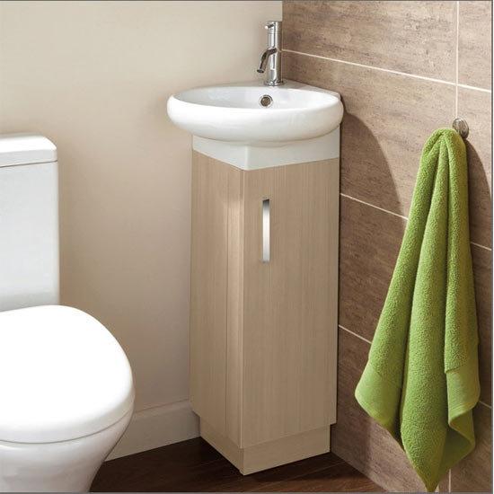 Cloakroom floor standing corner unit amp basin light oak 1380051 9220