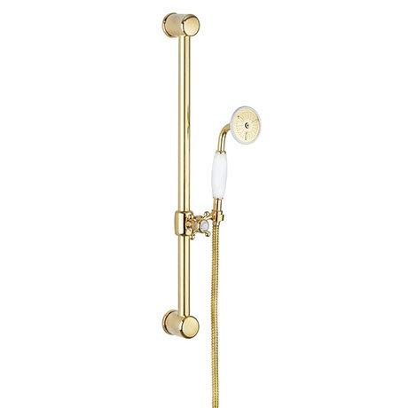 Crosswater Belgravia Unlacquered Brass 600mm Slide Rail Handset & Hose