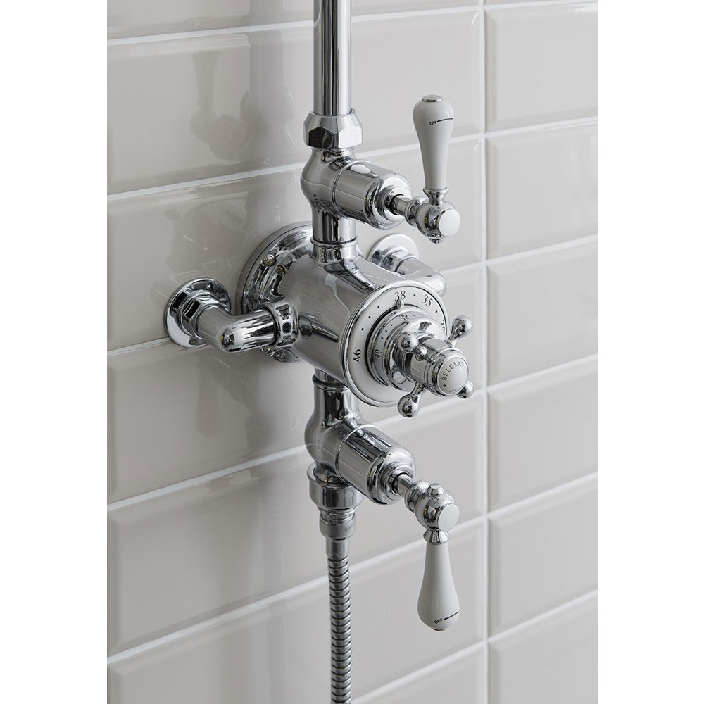 Crosswater - Belgravia Thermostatic Shower Valve with Fixed Head, Handset & Wall Cradle profile large image view 3