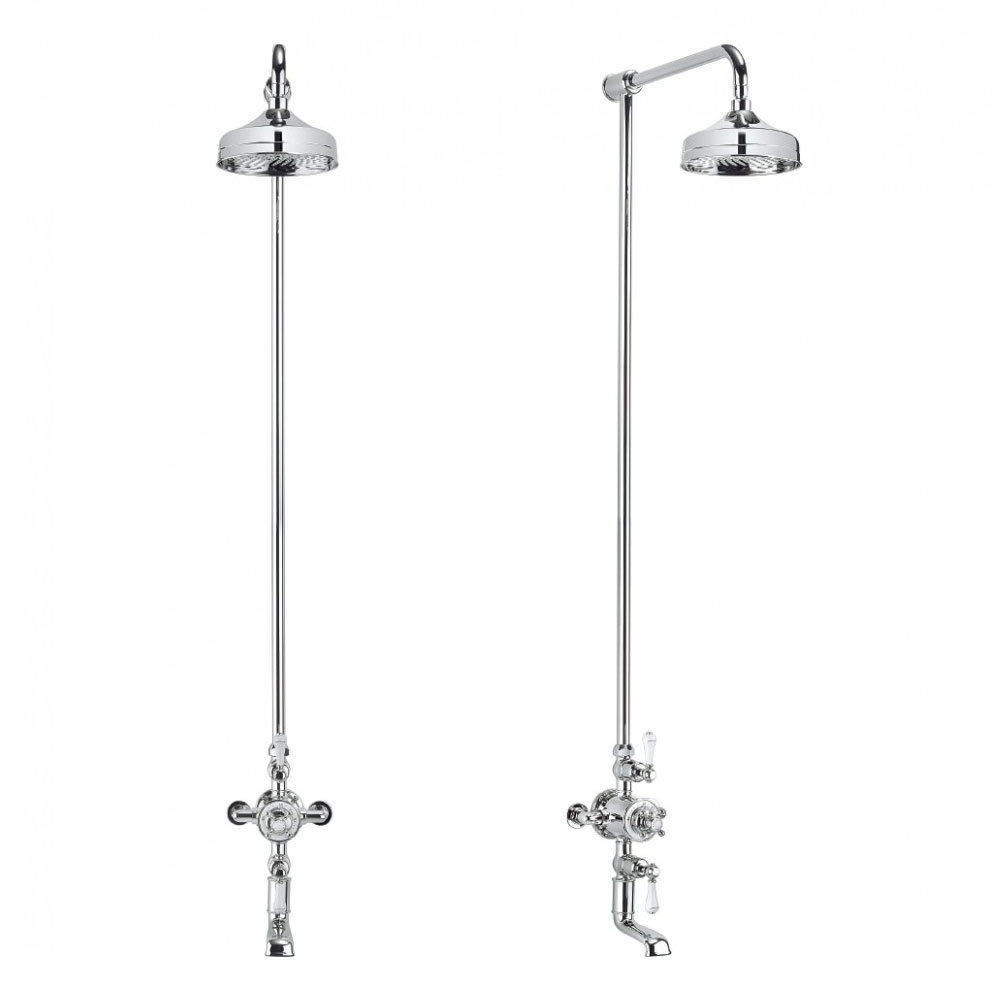 Crosswater - Belgravia Thermostatic Shower Valve with Fixed Head & Bath Spout Profile Large Image