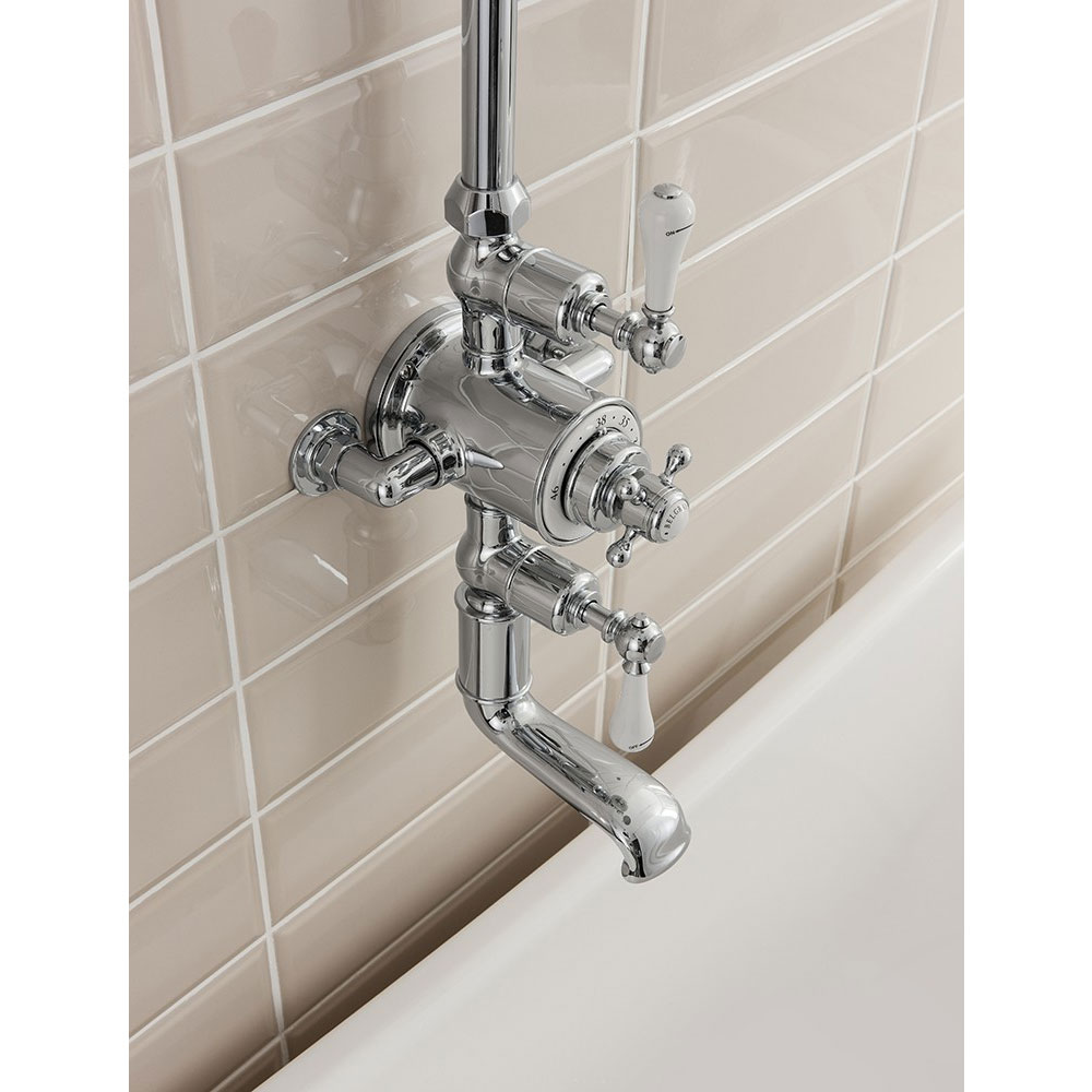 Crosswater - Belgravia Thermostatic Shower Valve with Fixed Head & Bath Spout Feature Large Image