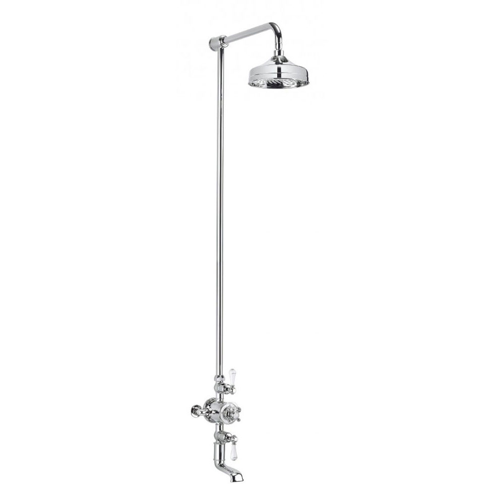 Crosswater - Belgravia Thermostatic Shower Valve with Fixed Head & Bath Spout Large Image