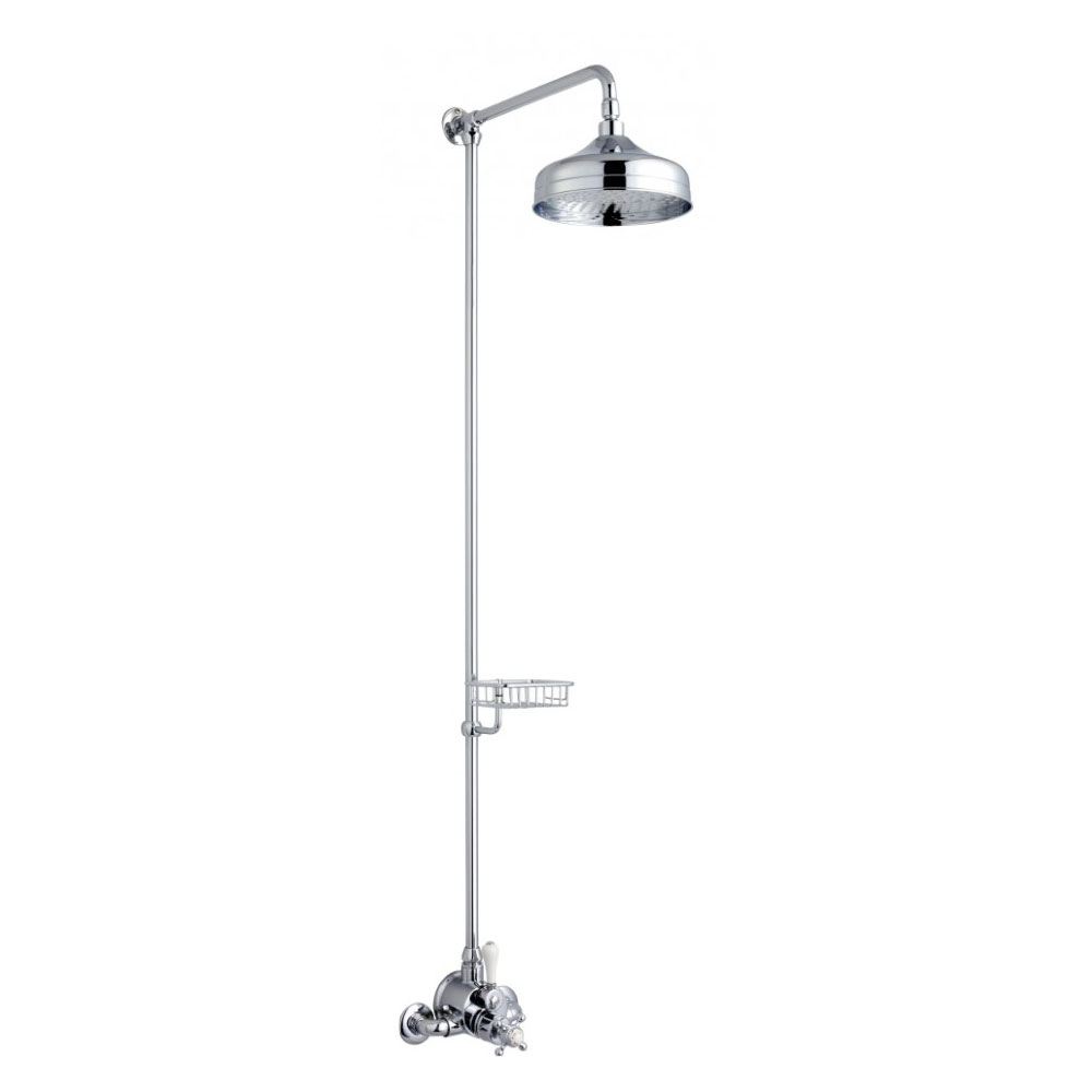 Crosswater - Belgravia Compact Thermostatic Shower Valve with Fixed Head & Soap Dish - Chrome Large Image