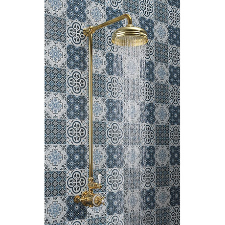 """Crosswater Belgravia Unlacquered Brass Thermostatic Shower Valve with 8"""" Fixed Head"""