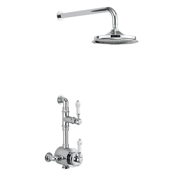 Burlington Stour Thermostatic Exposed Single Outlet Shower Valve with Fixed Shower Head Large Image
