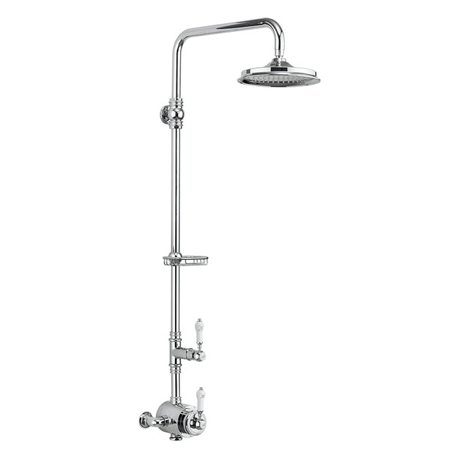Burlington Stour Thermostatic Exposed Single Outlet Shower Valve & Rigid Riser with Fixed Shower Head Large Image