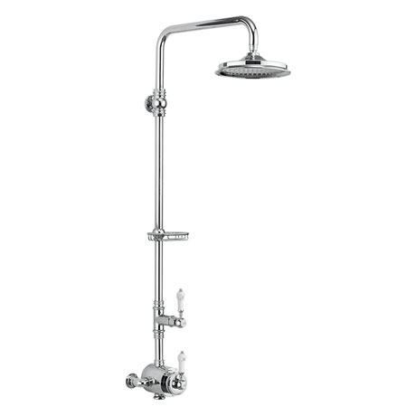 Burlington Stour Thermostatic Exposed Single Outlet Shower Valve & Rigid Riser with Fixed Shower Head