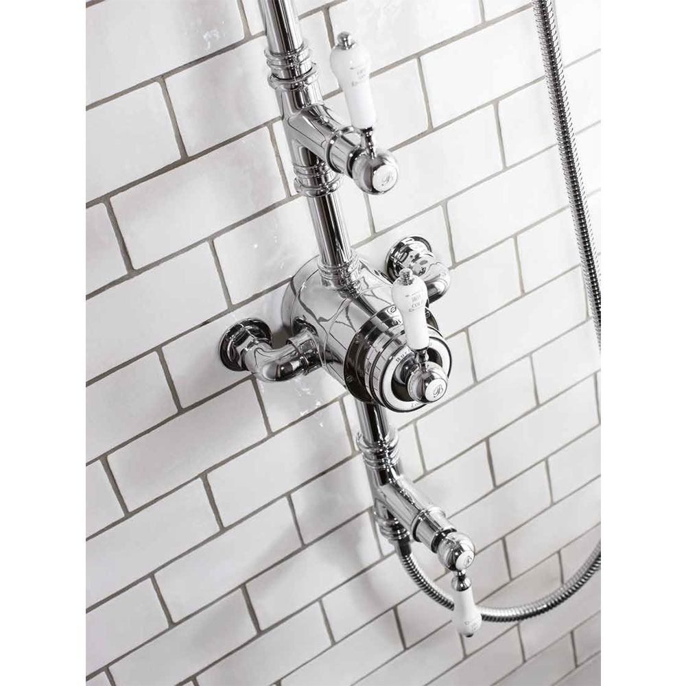 Burlington Stour Thermostatic Exposed Two Outlet Shower Valve, Rigid Riser, Hose & Handset with Fixed Shower Head profile large image view 2