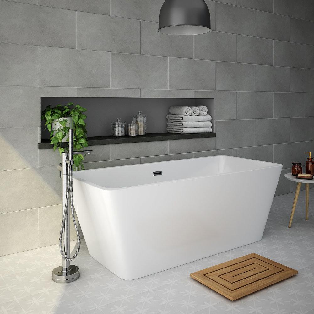 Spa Bathroom: Valencia 1615 Square Modern Freestanding Bath