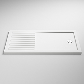 Nuie Rectangular 40mm ABS Capped Acrylic Walk-In Shower Tray with Drying Area