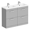 Brooklyn 1205mm Grey Mist Double Basin 4 Drawer Vanity Unit profile small image view 1