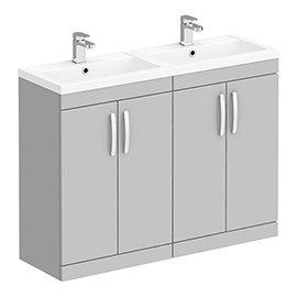 Brooklyn 1205mm Grey Mist Double Basin 4 Door Vanity Unit