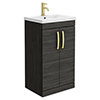Brooklyn 500mm Black Vanity Unit with Brushed Brass Handles profile small image view 1