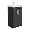 Brooklyn 500 Black Floor Standing Vanity Unit with Thin-Edge Basin profile small image view 1