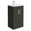 Brooklyn 500mm Black Vanity Unit - Floor Standing 2 Door Unit profile small image view 1