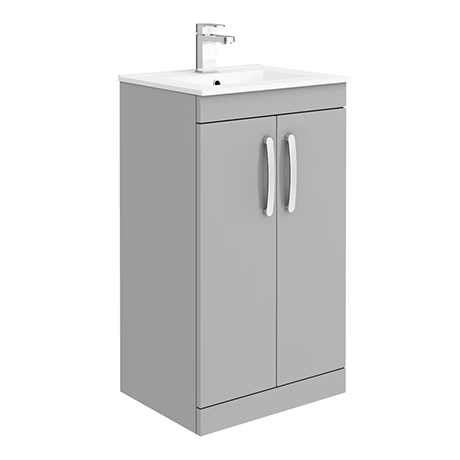 Brooklyn 500mm Grey Mist Vanity Unit - Floor Standing 2 Door Unit with Minimalist Basin