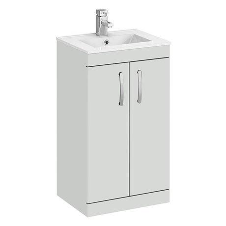 Brooklyn 500mm Grey Mist Vanity Unit - Floor Standing 2 Door Unit with Minimalist Basin