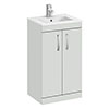 Brooklyn 500mm Grey Mist Vanity Unit - Floor Standing 2 Door Unit with Minimalist Basin profile small image view 1