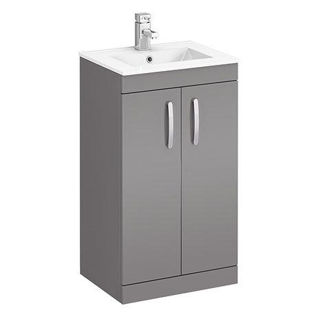 Brooklyn 500mm Dust Grey Vanity Unit - Floor Standing 2 Door Unit