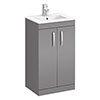 Brooklyn 500mm Dust Grey Vanity Unit - Floor Standing 2 Door Unit profile small image view 1