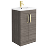 Brooklyn 500mm Grey Avola Vanity Unit with Brushed Brass Handles profile small image view 1