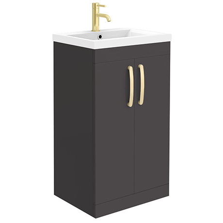 Brooklyn 500mm Gloss Grey Vanity Unit with Brushed Brass Handles