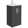 Brooklyn 500mm Gloss Grey Vanity Unit with Brushed Brass Handles profile small image view 1