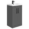 Brooklyn Gloss Grey Vanity Unit - 500mm Wide with Matt Black Handles profile small image view 1