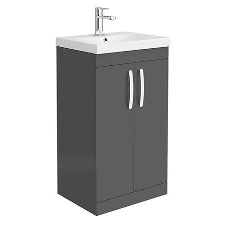 Brooklyn 500 Gloss Grey Floor Standing Vanity Unit with Thin-Edge Basin