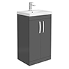 Brooklyn 500 Gloss Grey Floor Standing Vanity Unit with Thin-Edge Basin profile small image view 1